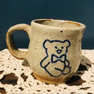 Small stoneware pottery teddy bear cup